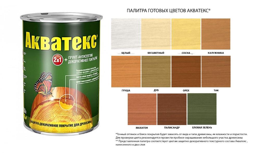 АКВАТЕКС (бесцветный, белый, дуб, калужница, груша, палисандр, сосна, тик, орех, махагон, еловая зелень) - 0,8л