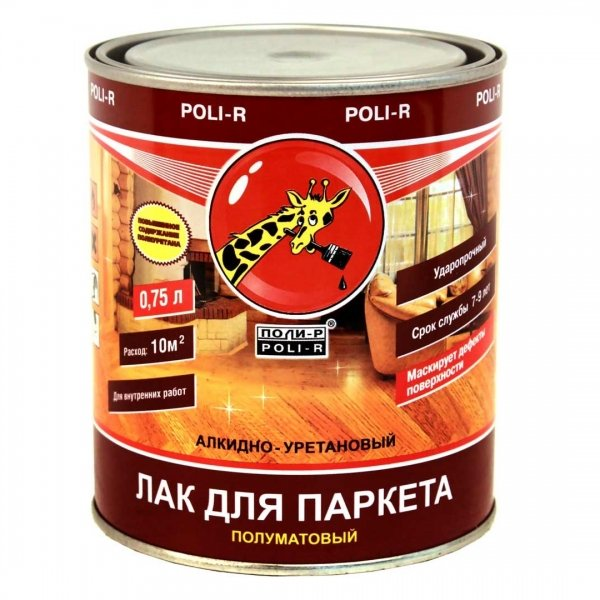 ПОЛИ - Р паркетный лак полуматовый - 0,75л