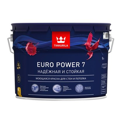ТИККУРИЛА EURO POWER 7  краска моющая для стен и потолков база С - 9л
